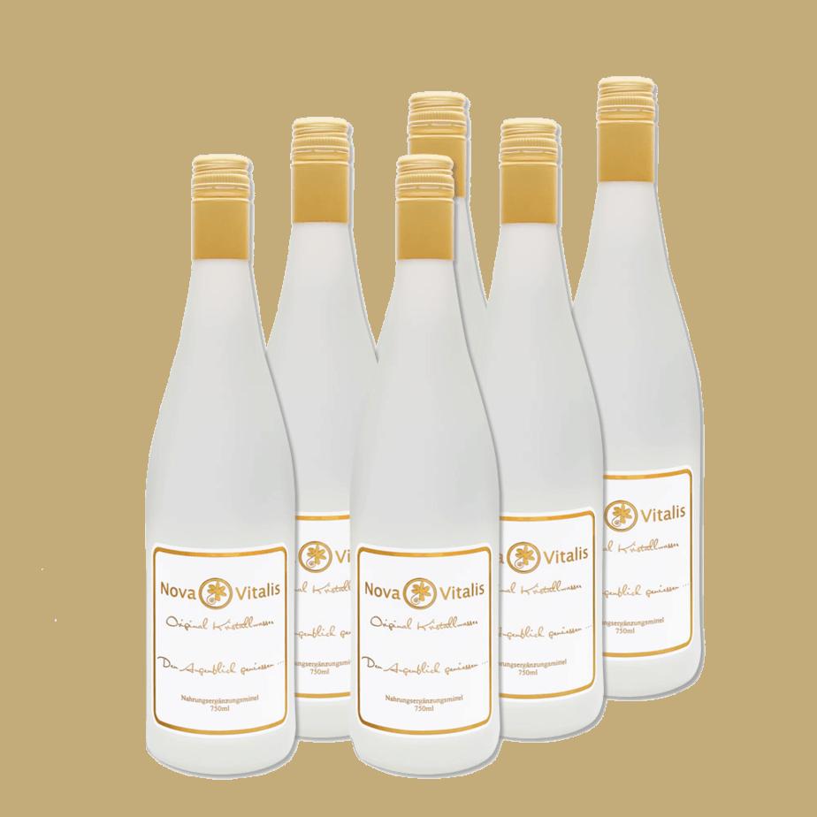 Sechs Flaschen Original Kristallwasser