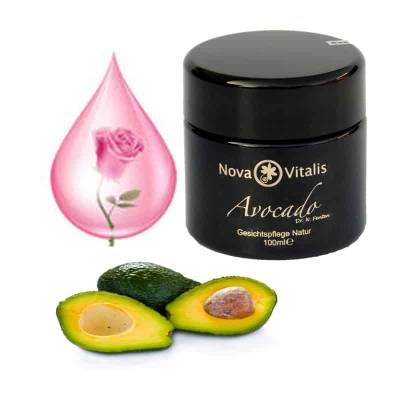 NovaVitalis Avocado mit Rosenöl, 100 ml, Violettglas