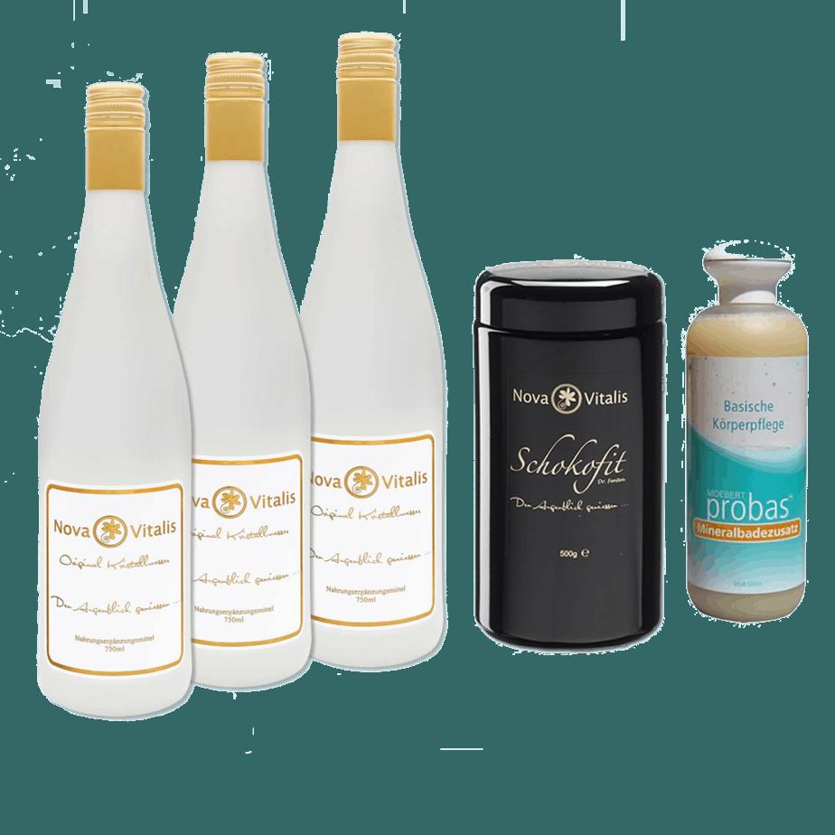 Drei Flaschen Kristallwasser, ein 500g Schokofit und 500ml Basische Körperpflege