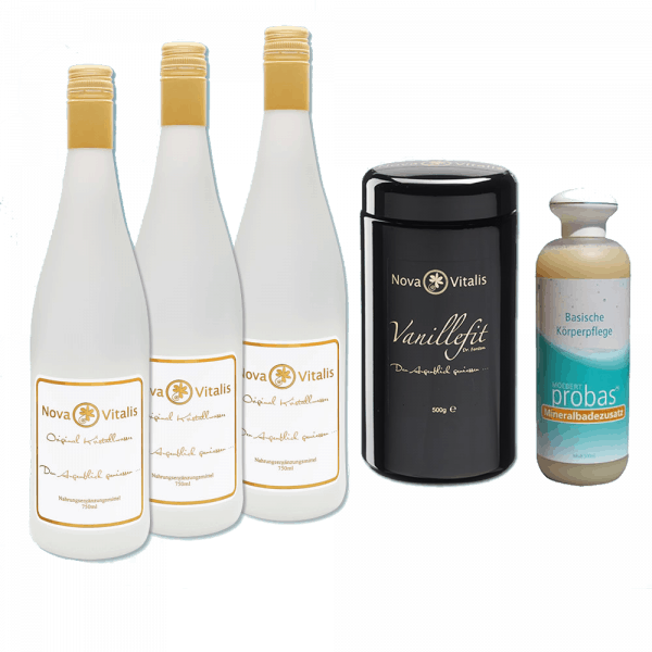 Drei Flaschen Kristallwasser, ein 500g Vanillefit und 500ml Basische Körperpflege